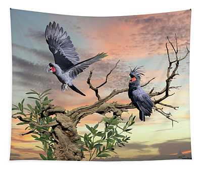 Great Black Cockatoo Pair Tapestry