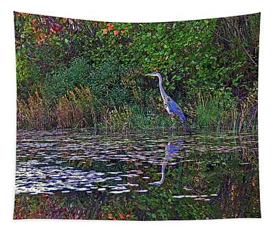 Great Blue Heron In Autumn Tapestry
