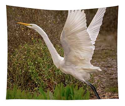 Great Egret Taking Flight Near Richardson Bay Tapestry