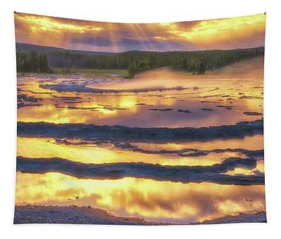 Great Fountain Sunset Tapestry