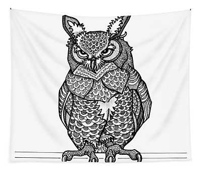 Tapestry featuring the drawing Great Horned Owl by Amy E Fraser