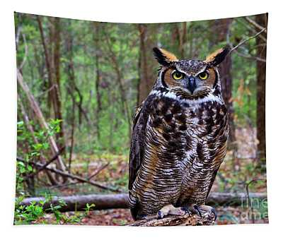 Great Horned Owl Standing On A Tree Log Tapestry