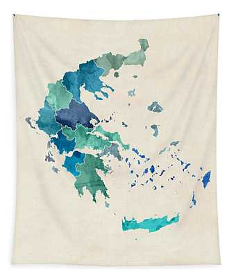 Greece Watercolor Map Custom Text Tapestry