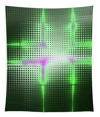 Green Aluminum Sparkling Surface. Metallic Geometric Abstract Fashion Background. Tapestry