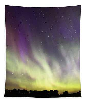 Green And Purple Fire In The Sky Tapestry