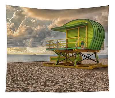 Green Lifeguard Stand Tapestry