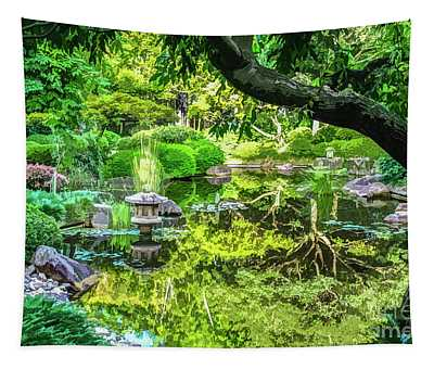 Green Reflections In The Pond Of A Japanese Ornamental Garden Tapestry