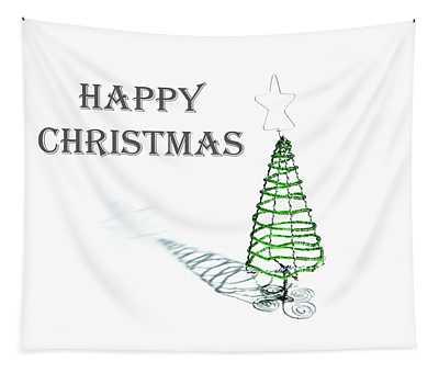 Green Tree - Happy Christmas Tapestry