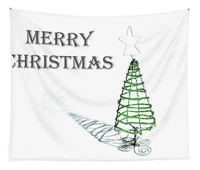 Green Tree - Merry Christmas Tapestry