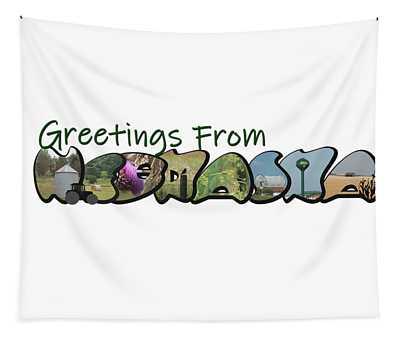 Greetings From Nebraska Big Letter Tapestry