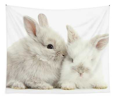 Grey And White Love Bunnies Tapestry