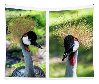 Grey Crowned Crane Gulf Shores Al Collage 1 Tapestry