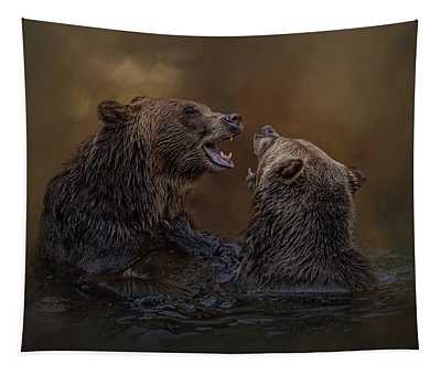 Grizzlies At Play Tapestry