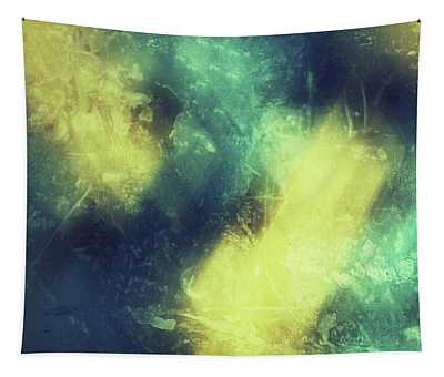 Grungy Colorful Watercolor Abstract Art With Muted Yellows, Blues And Greens Tapestry