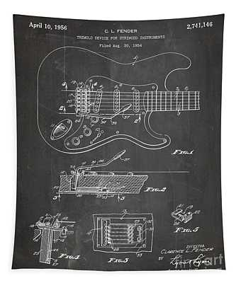 Guitar Tremelo Patent, Fender Tremelo Art - Chalkboard Tapestry