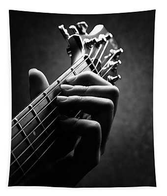 Guitarist Hand Close-up Tapestry