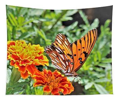 Gulf Fritillary On Orange Marigolds Tapestry
