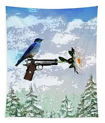 Bluebird Of Happiness- Flower In A Gun Tapestry