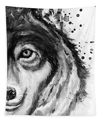 Half-faced Wolf Close-up Tapestry