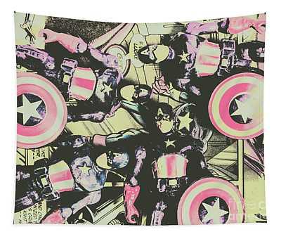 Halftone Superheroes Tapestry