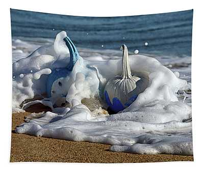 Halloween Blue And White Pumpkins In The Surf Tapestry