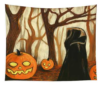 Tapestry featuring the painting Halloween Forest by Anastasiya Malakhova