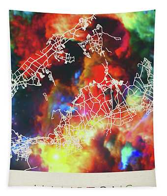 Hamptons Massachusetts Watercolor City Street Map Tapestry