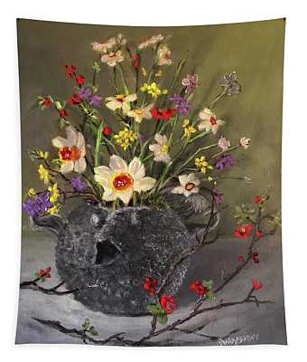 Handbuilt Pufferfish Teapot With Spring Flowers Tapestry