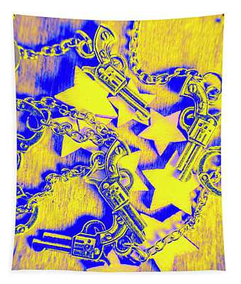 Handguns, Chains And Handcuffs Tapestry