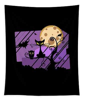 Happy Halloween Cat Tapestry