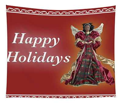Happy Holidays Angel Red Tapestry