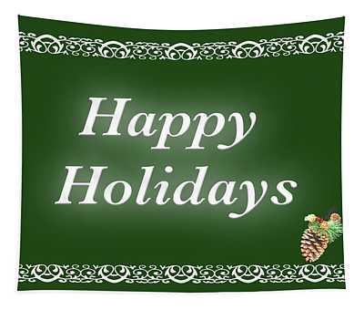 Happy Holidays Green Border Tapestry