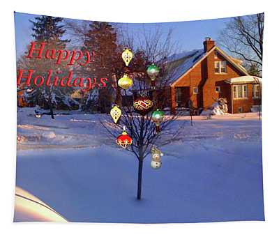 Happy Holidays Jewel Tree Tapestry