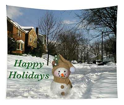 Happy Holidays Snowman Tapestry
