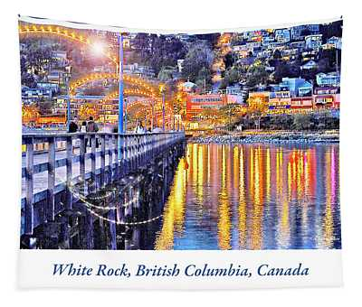 Harbor At Night White Rock British Columbia Canada Tapestry