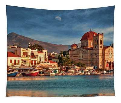 Harbor At Sunset On Greek Island Of Aegina - Dwp1627474 Tapestry
