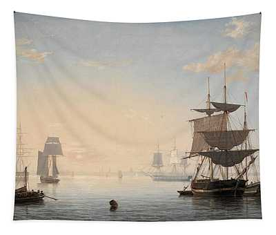 Harbor Of Boston, With The City In The Distance, 1847 Tapestry
