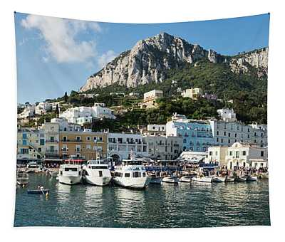 Harbor With Mountains Tapestry