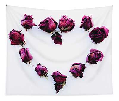 Heart Composition With Dried Roses - Flat Lay With Copy Space On Tapestry