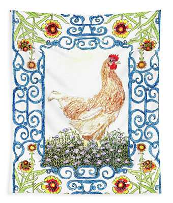 Hen In The Garden Tapestry