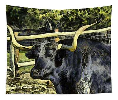 Here's The Beef Longhorn Abstract Tapestry