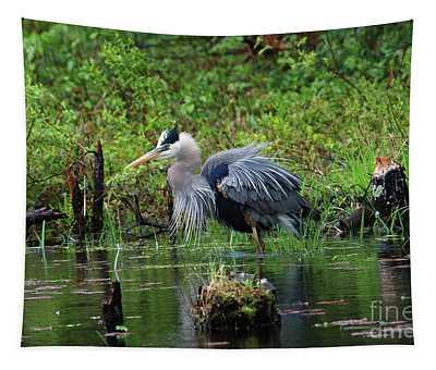 Heron In Beaver Pond Tapestry