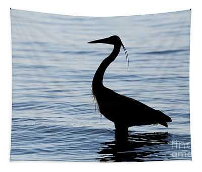 Heron In Silhouette Tapestry