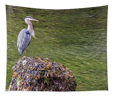 Heron On The Rock Tapestry