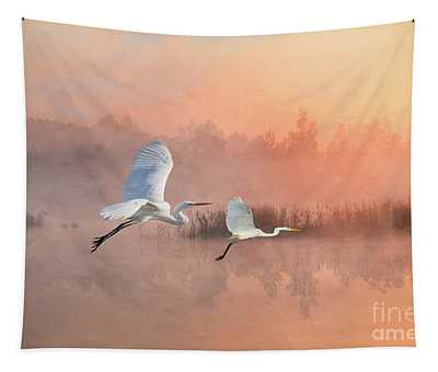 Herons Into The Sunset Tapestry