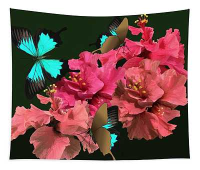 Hibiscus Butterfly Joy Tapestry