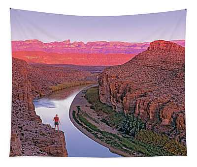 High Angle View Of A River Running Tapestry