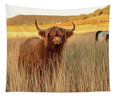 Highland Cows On The Farm Tapestry
