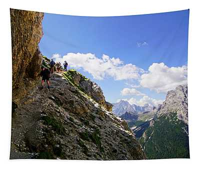 Hikers On Steep Trail Up Monte Piana Tapestry