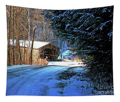 Tapestry featuring the photograph Historic Grist Mill Covered Bridge by Patti Whitten